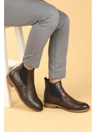 Ayakland Ayakland 5100 Kroko Termo Taban Erkek Bot Ayakkabı Kahve